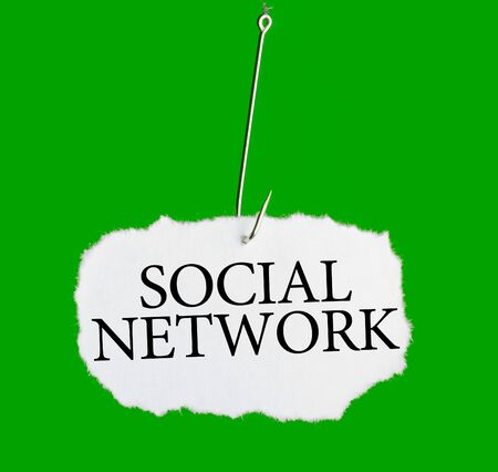 Word SOCIAL NETWORK on a fishing hook on green background photo