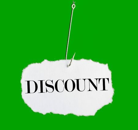 hooked: Word DISCOUNT on a fishing hook on green background