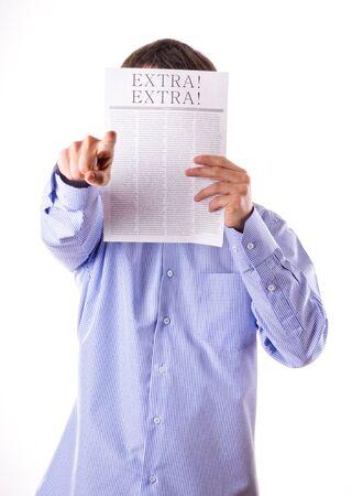 broadsheet newspaper: Man reading a newspaper with inscription EXTRA!