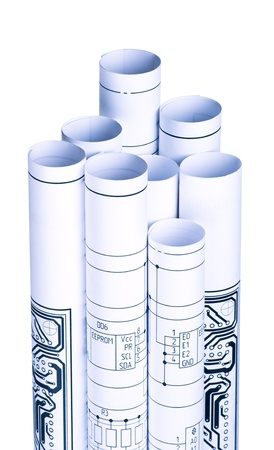 Drawings rolled in a tube
