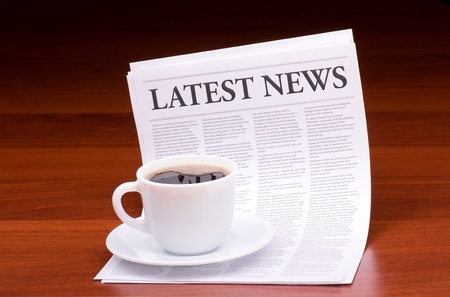 The newspaper LATEST NEWS on table on table Stock Photo - 13199999