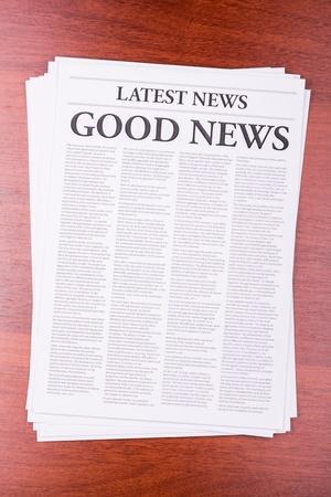 broadsheet newspaper: The newspaper LATEST NEWS with the headline GOOD NEWS Stock Photo