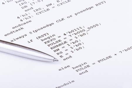 Part of the computer program and pen photo