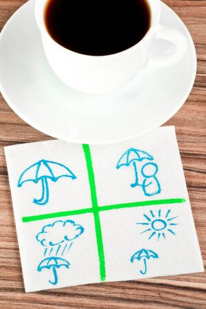 Protect umbrella on a napkin and cup of coffee Stock Photo - 14488506