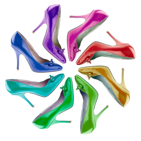 high heel shoe: Many-coloured women s shoes