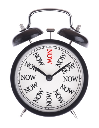 Alarm clock with the word Now isolated