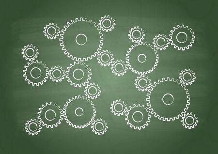flaw: Gears on a green school board Illustration