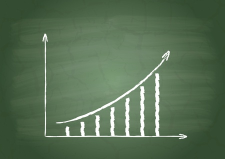 Graph of growth on a green school board Vector