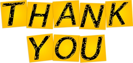 Inscription Thank you on the yellow square stickers Vector