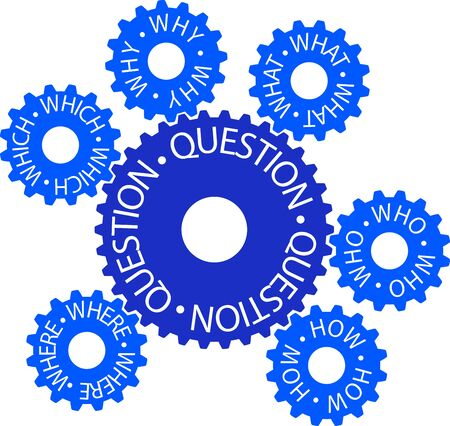 Colorful gear wheel with the inscription Question Stock Vector - 16628911