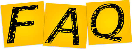 Inscription FAQ on the yellow square stickers Stock Vector - 16800809