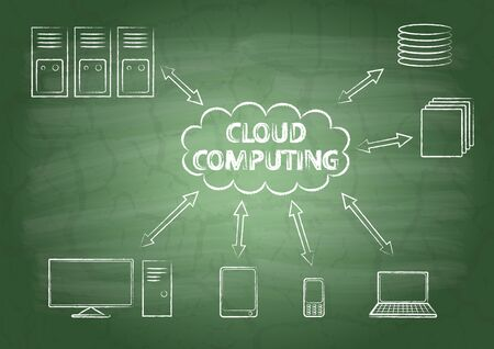 Cloud computing on a school blackboard Vector