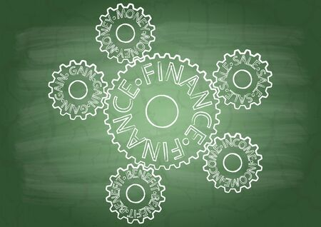 Gears with inscriptions on a school blackboard Stock Vector - 16800840