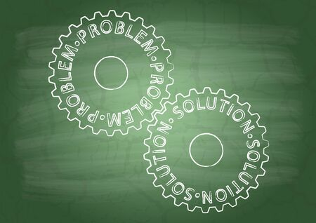 flaw: Gears with inscriptions on a school blackboard