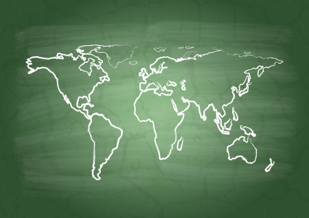 World  map on a school blackboard Vector