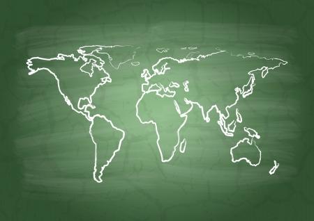 flaw: World  map on a school blackboard