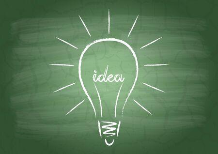 light classroom: Drawing light bulb filament from the word Idea