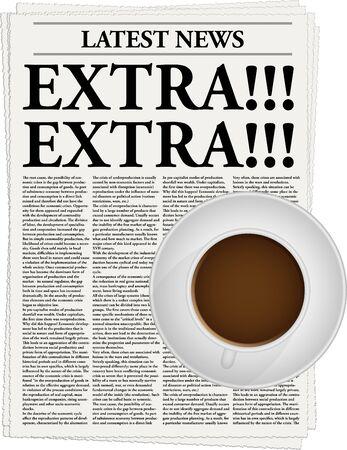artikelen: De krant met een kop Extra! en een kopje koffie