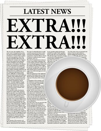 an article: The newspaper with a headline Extra!!! and a cup of coffee Illustration