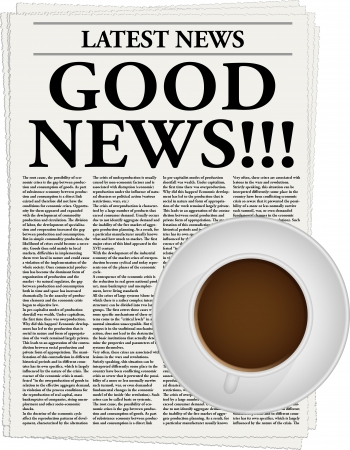 The newspaper with a headline Good news and a cup of coffee Stock Vector - 17612939
