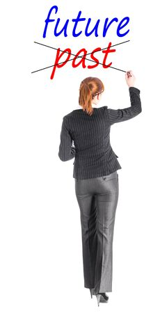 Girl in a business suit writing the word Stock Photo - 17801312