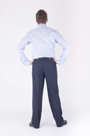 full height: Back of a man in a business suit Stock Photo