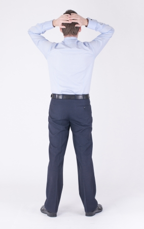 Hands on your head of a man in a business suit Stock Photo - 19385665