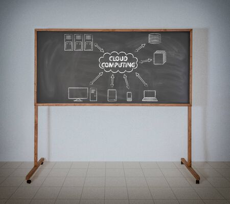 Cloud computing on a school blackboard photo