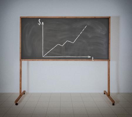 Diagramm des Wachstums von Geld auf einem schwarzen Schulbehörde Standard-Bild - 22984394