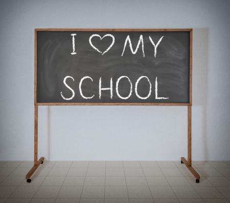 Ich liebe meine Schule auf eine schwarze Schultafel Standard-Bild - 22984395