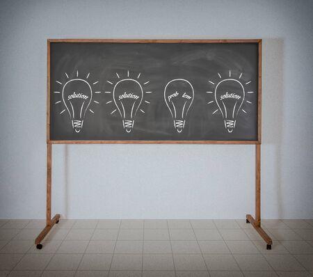 Zeichnung Glühbirne Filament aus den Worten Lösung und Problem Standard-Bild - 22984401