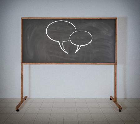 Zwei Diskussion Zeichen auf schwarz Schulbehörde Standard-Bild - 22984438