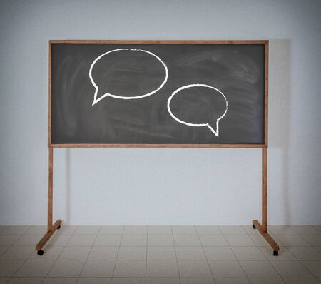 Zwei Diskussion Zeichen auf schwarz Schulbehörde Standard-Bild - 22984437