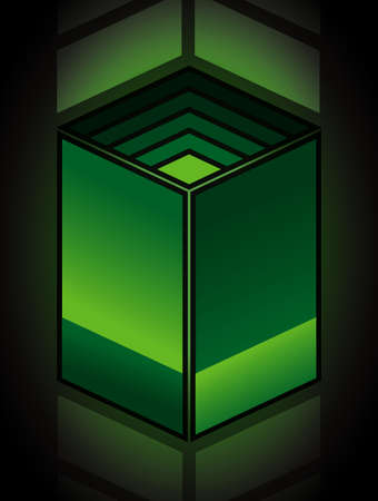 Green abstract parallelogram cube  Stock Vector - 13802316