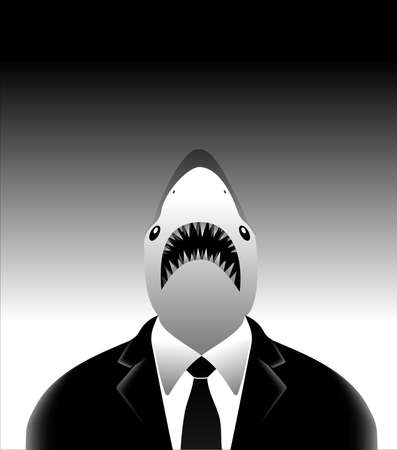 The art business white shark in classic suit on grey background  Vector