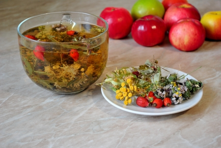 curative: Tea from curative grasses Stock Photo