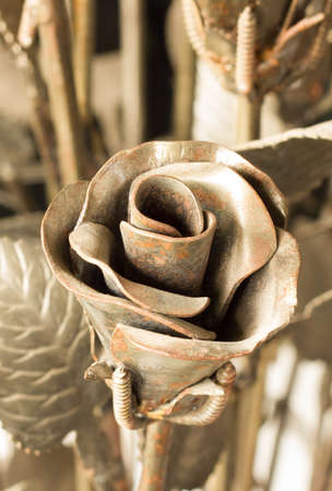 rusty metal forged rose