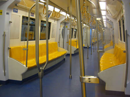 transportaion: Empty sky train in Thailand midnight Stock Photo