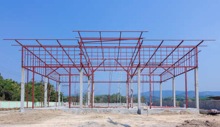 steelwork: Construction site with building and steelwork Stock Photo