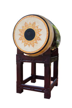 Traditional Thai drums instrument used in war isolated on white background photo