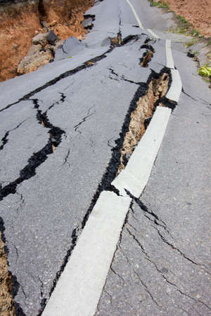 broken road by an earthquake in Chiang Rai, thailand photo
