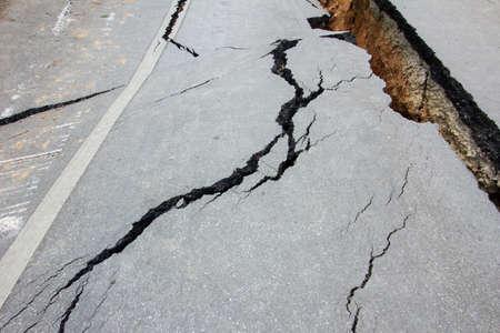 landslip: broken road by an earthquake in Chiang Rai, thailand Stock Photo