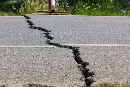 land slide: broken road by an earthquake in Chiang Rai, thailand Stock Photo