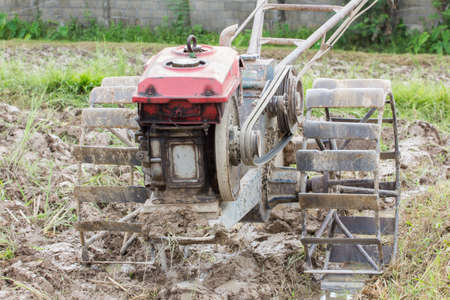 plough machine: old motor pushcart for ploughing the rice  field