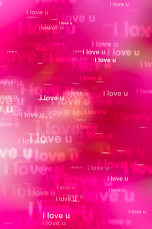 orthography: word i love you in pink background Stock Photo
