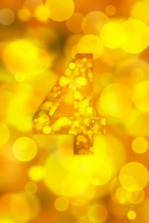 orthography: orange bokeh number background, blured Stock Photo