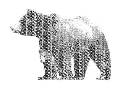word bear mixed to be figure of bear, with typography style, isolated on white background photo