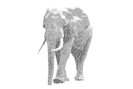 word elephant mixed to be figure of elephant, with typography style, isolated on white background photo