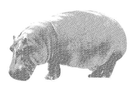 word hippopotamus mixed to be figure of hippopotamus, with typography style, isolated on white background photo