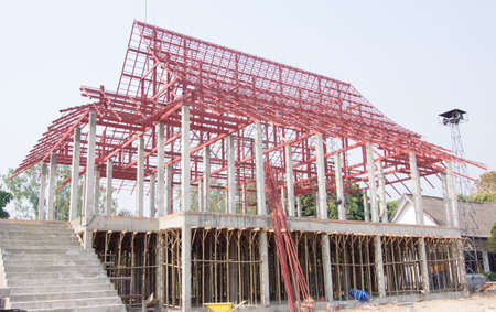 steelwork: Construction site with thai temple and steelwork